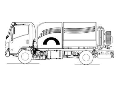 Малогабаритный комбинированный каналопромывочный автомобиль МВУ-160-00 на базе шасси МАЗ-4381